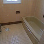 Brown Bathroom Before Reglazing Tub, Wall Tile and Floors