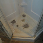 Fiberglass Shower Before Fixing Holes and Reglazing